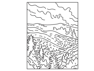 Great Smoky Mountains National Park Mono Line Art protected area nature landscape scenery forest flora national monument mountain range national park mountain black and white recreation area retro line art mono line