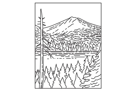 Lassen Volcanic National Park Mono Line Art flora national monument summit mountain range national park mountain black and white recreation area retro reflection lake line art mono line