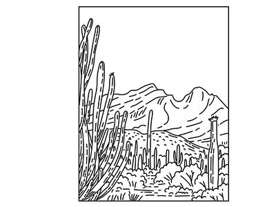 Organ Pipe Cactus National Monument Sonoran Desert Mono Line Art scenery