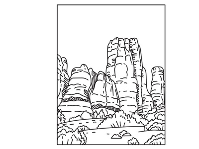 The Needles in Canyonlands National Park Mono Line Art protected area
