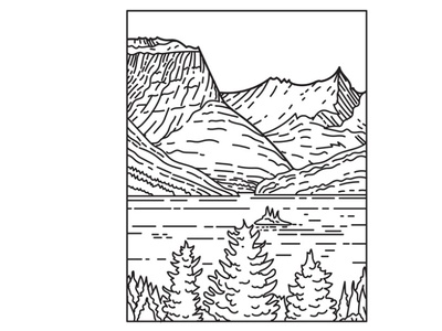 Saint Mary Lake in Glacier National Park Mono Line Art protected area