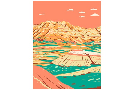 Layered Rock Formations in Badlands National Park WPA Art natural