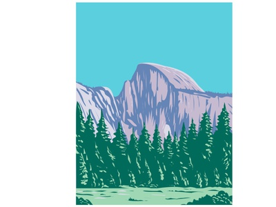 The Half Dome at Yosemite National Park WPA Art protected area