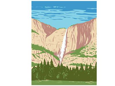 Yosemite Falls in Yosemite National Park WPA Poster Art nature