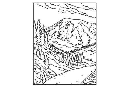 Mount Rainier in Mount Rainier National Park Mono Line Art conservation area