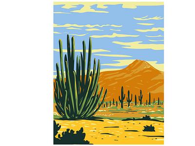 Stenocereus Thurberi in Organ Pipe Cactus National Monument WPA nature