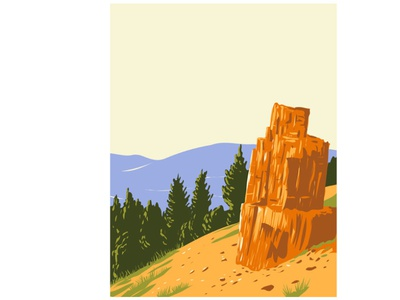 Petrified Tree Found in Yellowstone National Park WPA Poster Art flora
