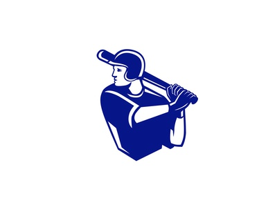 American Baseball Player Batting Side Retro