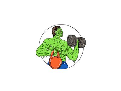 Athlete Fitness Dumbbell Kettlebell Grime Art