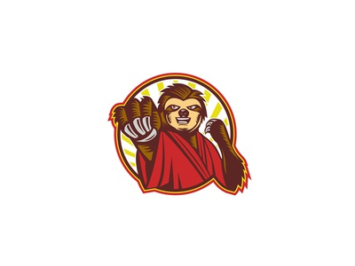 Sloth Fighter Self Defense Circle Mascot