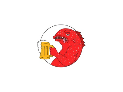 Coral Trout Beer Mug Circle Drawing leopard coral grouper drinking drinker mug ale beer coral trout drawing