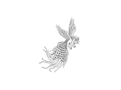 Simorgh or Simurgh Flying Drawing