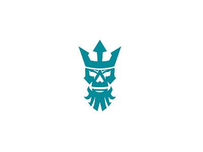 Poseidon Skull Wearing Crown Icon symbol sign retro titan bone crown wearing skull neptune poseidon icon
