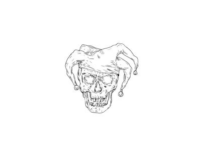 Court Jester Skull Drawing