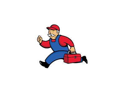 Aircon Technician Running Cartoon toolbox running technician repairman mechanic aircon technician cartoon