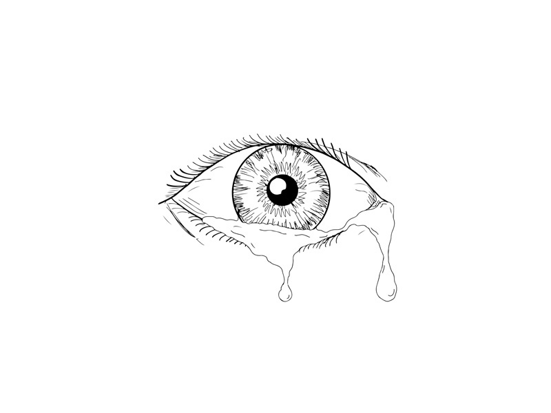 Human Eye Crying Tears Flowing Drawing By Aloysius Patrimonio On