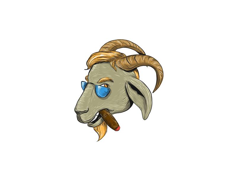 Hip Goat Smoking Cigar Drawing by Aloysius Patrimonio on
