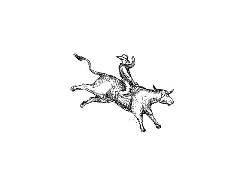 Rodeo cowboy bull riding dwg eps10