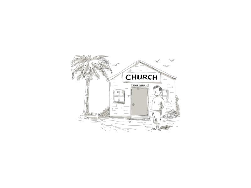 Samoan Boy Stand By Church Cartoon pacific islander oceanic lavalava placard church goer protesting boy samoan cartoon