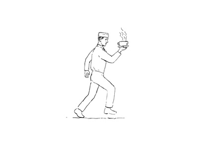 Retro Waiter Running Serving Coffee Drawing