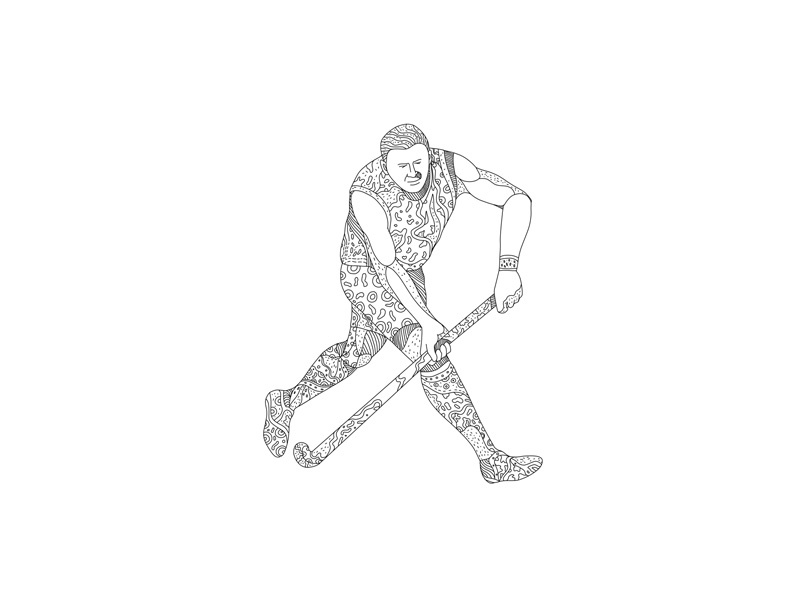 Field Hockey Player Doodle male attacking running stick hockey stick sport team player hockey field hockey doodle