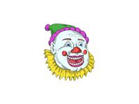 Vintage Circus Clown Smiling Drawing
