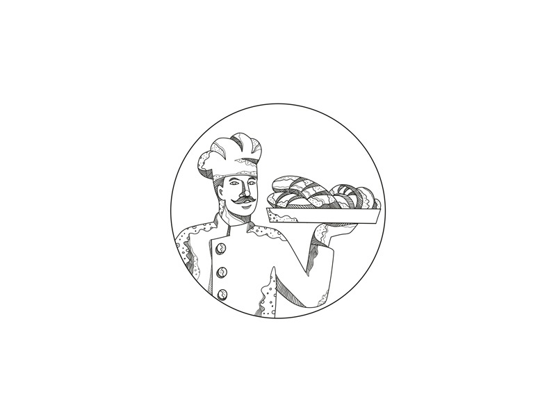 Baker Holding Bread on Plate Doodle Art commercial baker food platter loaf bread plate holding cook chef pastry chef baker doodle