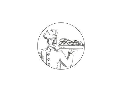 Baker Holding Bread on Plate Doodle Art