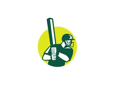 Cricket Batsman Batting Icon Retro