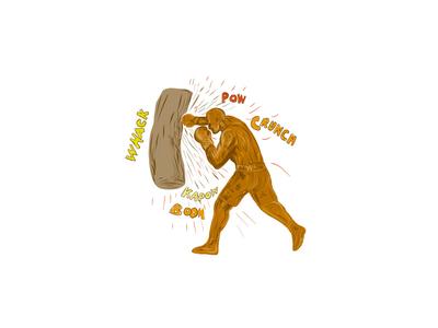 Boxer Hitting Punching Bag Drawing