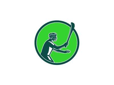 Hurling Player Icon Retro gaelic game circle sport game wooden stick holding player hurley hurling retro