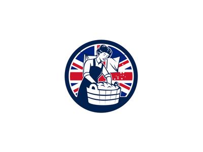 British Laundry Union Jack Flag Icon woman vintage worker cleaner basin launderer housewife washing laundromat laundry british icon