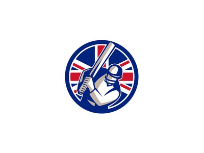British Cricket Batsman Batting Union Jack Flag Icon
