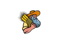 Wheat Grain Farmer With Beard Mascot