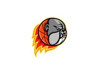 Bulldog Blazing Basketball Mascot