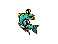 Barracuda and Anchor Mascot