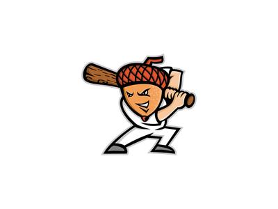 Acorn Baseball Mascot