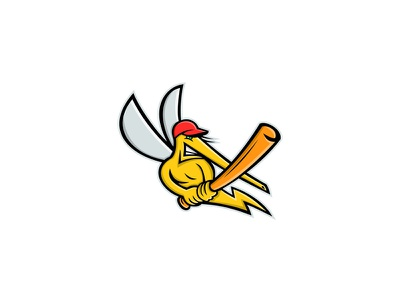 Mosquito Baseball Mascot yellow fever mosquito baseball bat batting baseball player mosquito baseball mascot