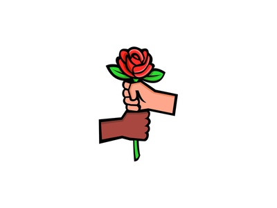Two Hands Holding Red Rose Mascot