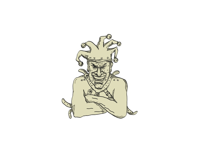crazy court jester straitjacket drawing by aloysius patrimonio