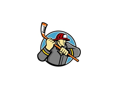 Fireman Ice Hockey Mascot