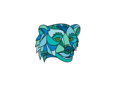 Grizzly Bear Head Mosaic animal growling wild brown bear carnivore wildlife grizzly bear grizzly abstract low polygon mosaic
