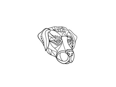 Labrador Dog Head Mosaic Black and White