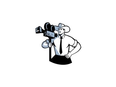 Cowboy Cameraman Vintage Movie Camera Retro film camera movie camera holding film crew director hat camera cameraman cowboy mascot icon retro