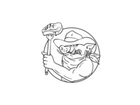 Cowboy Wild Pig Holding Barbecue Steak Drawing Black and White