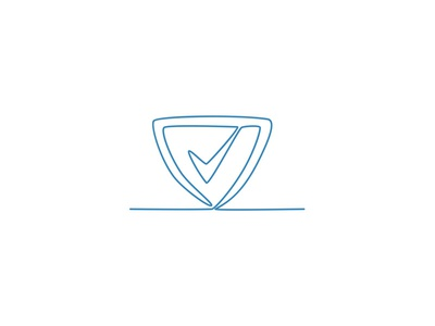 Shield With Check Mark Continuous Line