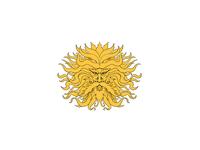 Helios Greek God of Sun Head Drawing Color