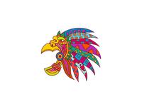 Ancient Aztec Headdress Drawing Color
