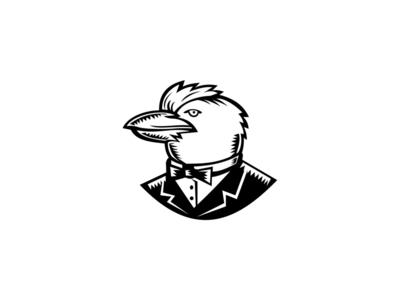 Kookaburra Wearing Tuxedo Woodcut Black and White