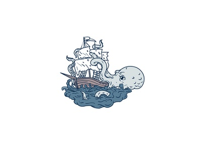 Kraken Attacking Sailing Galleon Doodle Art Color